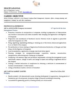 sample template of an excellent company secretary resume sample with great job profile career objective