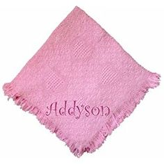Custom Embroidered Monogrammed Girl Pink Cotton Woven Personalized Baby Blanket Hot Pink Thread * You can get additional details at the image link.