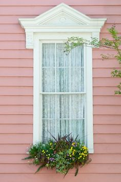 pretty window with lace curtain