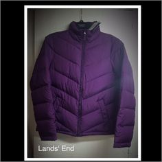 Jacket Lands' End Down Filled Jacket. Do you love being warm without being weighed down? Then this lightweight down jacket is just for you! Filled with 600-fill power down, and channel quilted for even warmth distribution. Shell and Lining: 100% polyester. Insulation 80% Down 20% Feathers. Machine wash cold. Tumble dry low. Water repellent. Stand collar zips up against cold breezes. Two front welt pockets with button closures. Color: Deep Purple. Size: XS(2-4). Lands' End Jackets & Coats…