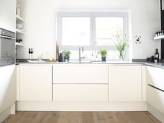 weiße, moderne, grifflose Küche via sodapop-design.de