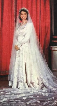 Queen Elizabeth II on her wedding day!