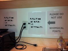 Whimsical fonts in the office kitchen.