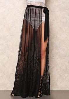 Black Sheer Embroidered Tie Skirt