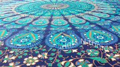 Royal and Turquoise Blue Boho Gypsy Hippie Mandala Tapestry Hippie Tapestries Wall Sheet by printsNtrims