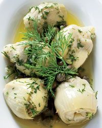 Marinated Baby Artichokes with Dill and Fresh Ginger | The dressing for the artichokes includes a little invigorating fresh-grated ginger, as well as more traditional Turkish flavors, like lemon juice and chopped dill.