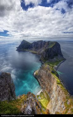 Vaerøy's Mount Mostadfjell Lofoten Islands. - stock photo
