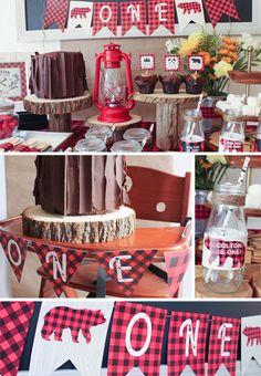 First Birthday Decorations Lumberjack For A Boy Party Printable Buffalo Plaid Decor