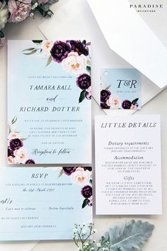 Tamara Dusty Blue and Burgundy Wedding Invitation Sets Printable Invitations or Printed Cards Burgundy Maroon Blush Pink Watercolour Flowers