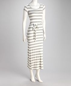 Take a look at this Heather Gray & Ivory Stripe Scoop Neck Maxi Dress by Fashion Instincts on #zulily today! $15