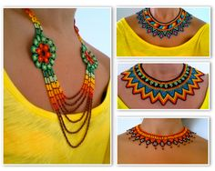 collares de piedras chaquiras realizado por la tribu Embera de Colombia... Beaded Collar, Beaded Choker, Collar Necklace, Bead Jewellery, Beaded Jewelry, Beaded Bracelets, Necklaces, Seed Bead Necklace, Crochet Necklace