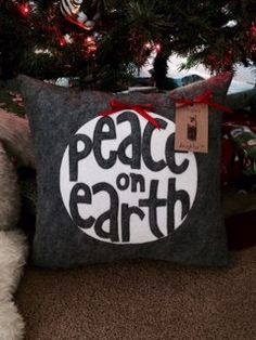 Peace on Earth/Grey and White/Felt by VirgiesDaughter on Etsy