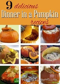 Fun family tradition to eat dinner in a pumpkin before trick or treating. Great round up of different recipes to try!