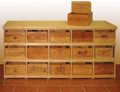 Wooden Wine Boxes & Wine Crates: How to Find The Right Wine Crate for your Project Wine Crate Table, Wooden Wine Crates, Wooden Lockers, Crate Ottoman, Wine Cellar Racks, Wine Cellar Design, Muebles Living, Crate Shelves, Barrel Furniture