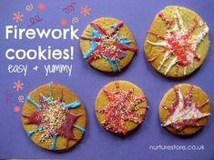 Bonfire Night is the first night back after half term. They are usually full of energy. These biscuits look fun but won't require too much concentration Whizz, pop, bang! Gorgeous firework crafts and cookies for kids Bonfire Night Activities, Bonfire Night Crafts, Bonfire Night Food, Bonfire Ideas, Bonfire Crafts For Kids, Diwali Activities, Autumn Activities, Activities For Kids, Babysitting Activities