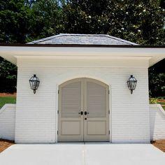 """BM - """"Brandon Beige"""" and """"Ballet White"""" Exterior paint colors, paint palettes Exterior, painted Brick White Exterior Paint, Exterior Paint Colors For House, Paint Colors For Home, Exterior Colors, Paint Colours, Exterior Design, Wall Exterior, Exterior Shutters, Brick Design"""