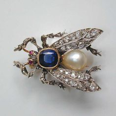 A Victorian Sapphire, Pearl and Diamond Fly Brooch