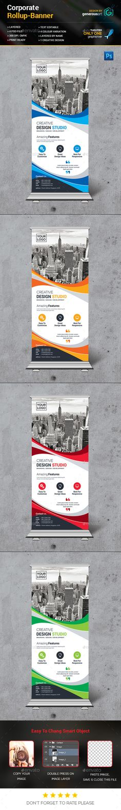 New Rollup Banner by generousart File Information: Easy Customizable and EditableSize in with bleedCMYK ColorDesign in 300 DPI ResolutionPrint Ready Fo Pamplet Design, Flyer Design, Creative Design, Modern Design, Pop Up Banner, Web Banner, Banners, Rollup Design, Digital Signage Displays