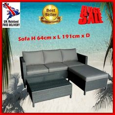 Patio Rattan Sofa Set Garden Wicker Lounger Table Couch Stool Outdoor Furniture