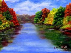 Fall Foilage by the Lake Painting  - Fall Foilage by the Lake Fine Art Print