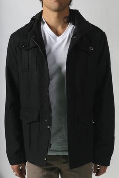 This is sick! And I need coats. {Action Heroes} Stuntman Hooded Utility Jacket in Lewis Black