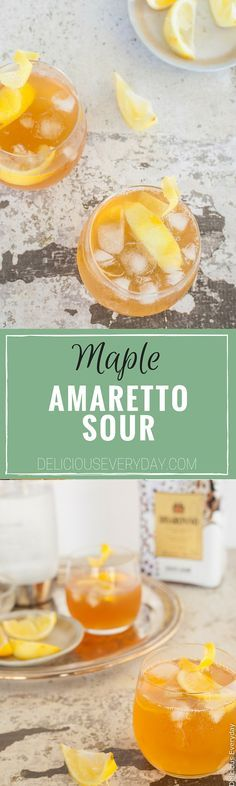 An Amaretto Sour cocktail is a delicious combination of lemon juice and almond liqueur. It is the perfect pre-dinner cocktail to whet your appetite. This Amaretto Sour Cocktail Recipe uses maple syrup in place of sugar for a slight sweetness. | click for the recipe
