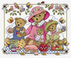 Teddies in cross stitch