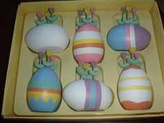 Set of 6 Vintage Dept. 56 Wooden Eggs Tulips 1980's from loghomeantiques on Ruby Lane