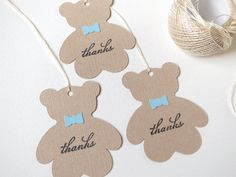 Teddy bear baby shower favor tags Boy baby by WildSugarberries, $9.50