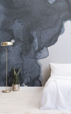 """We asked our store visitors in a survey, """"What type of style, theme, aesthetic, or mood are you trying to achieve in your home?"""" Below, 13 people tell us what their Dream Bedroom would look like – letting us in on their decor tastes, wallpaper choices, and how they want their bedroom to make them feel. We've brought their answers to life – creating their ideal bedroom spaces using some simple styling ideas that are easy to recreate. Read on to grab some great bedroom inspiration… Teal Watercolor Wallpaper, Watercolor Clouds, Watercolor Design, Wallpaper Design For Bedroom, Kids Wallpaper, Art Deco Bedroom, Dream Bedroom, Smoke Design, Tropical Bedrooms"""