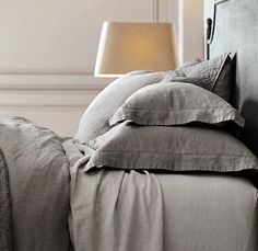 Restoration Hardware linen bedding. A little extravagant, but makes sleeping in on hot summer mornings a lot more comfortable.