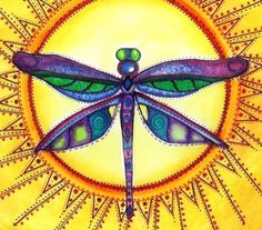 Dragonfly purple & sun vibrant art Dragonfly Wall Art, Dragonfly Painting, Dot Painting, Spirit Signs, Gossamer Wings, Paper Collage Art, Rock Painting Ideas Easy, Paint Ideas, Book Projects