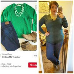 #ChubbyChique 3-17-2016 #ootd #beYOUtiful16 #march2016pinneditspinnedit @aem8168 @jro1583 Jeans, green sweater, mint jewelry, tan booties inspiration from @puttingmetogether