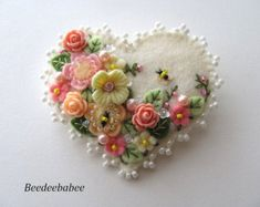 "Felt Heart Brooch / ""Springtime Pin"""