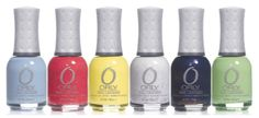 Orly Hope and Freedom Fest Collection    Boho Bonnet  is a soft grey-blue creme  Elation Generation is a bright pink glitter creme  Melodious Utopia is a soft yellow creme  Peaceful Opposition is a silver/white glitter  High On Hope is a navy/purple shimmer  Coachella Dweller is a pale green creme       The collection will be available worldwide from March 2013 (Nail Candy Blog)