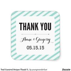 Teal Carnival Stripes Thank You Favour Stickers