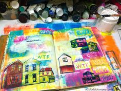 Image transfer cheat in an art journal plus a gel printing the colorful background with a StencilGirl stencil video by Carolyn Dube #artjournal #imagetransfer