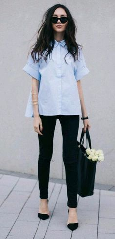 classic business outfit the blue shirt with black details