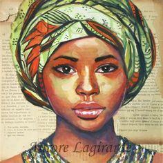 """""""Le turban"""", peinture et collage www.sourireslointains.blogspot.fr"""