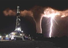 THIS IS A PICTURE THAT SOMEONE TOOK WHO WORKS ON AN OIL RIG IN TEXAS. HE WANTED TO GET A SHOT OF THE LIGHTNING THAT WAS FLASHING BY. HE WAS UNAWARE OF THE TORNADO UNTIL THE LIGHTNING ILLUMINATED IT. This has been called a one-in-a-million photo; taken south of Ft. Stockton, Texas.