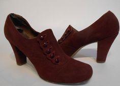 Trendy Trotting  Mid 1930s Aubergine Suede by RoadsLessTravelled2 Women's Fashion Footwear for fall winter dress