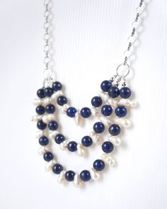 Blue Lapis Lazuli Statement Necklace with by TreeCraftDiary, $98.00