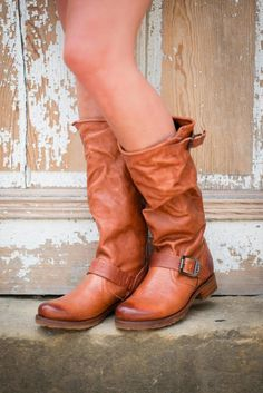 Frye Veronica Slouch Boot - Soft vintage leather is washed and antiqued. Unlined with leather outsole with rubber forepart. Engineer details with solid antique brass buckles. Wear these boots as your every day go to. They are great with dresses and skinnies and the whiskey color is very versatile!