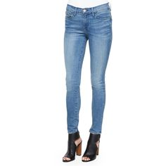 FRAME Le Skinny De Jeanne Jeans ($220) ❤ liked on Polyvore featuring jeans, barbour, frayed skinny jeans, zipper jeans, mid-rise jeans, straight jeans and faded jeans