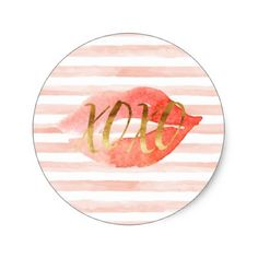 Blush Pink Gold XOXO Watercolor Kiss Classic Round Sticker - girly gifts girls gift ideas unique special