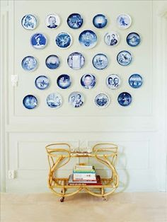 blue + white plates on a wall