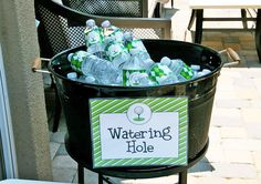 "Golf party - ""Watering Hole""! Sign and water labels from #Chickabug"