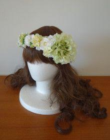 爽やかナチュラルに☆ 白&グリーンの花冠♪ |Ordermade Wedding Flower Item MY FLOWER ♪ まゆこのブログ