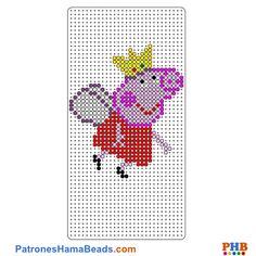 Peppa Pig Hada plantilla hama bead. Descarga una amplia gama de patrones en formato PDF en www.patroneshamabeads.com