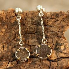 Silver and druzy post earrings in silver bezel setting with brass accent prongs